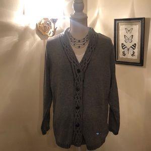 Liz Claiborne XL Grey Cable-knit Sweater